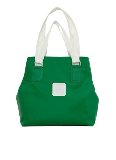 Bagmori  Kadın Çift Askı Detaylı Armalı Saten Çanta M000006003 Yeşil
